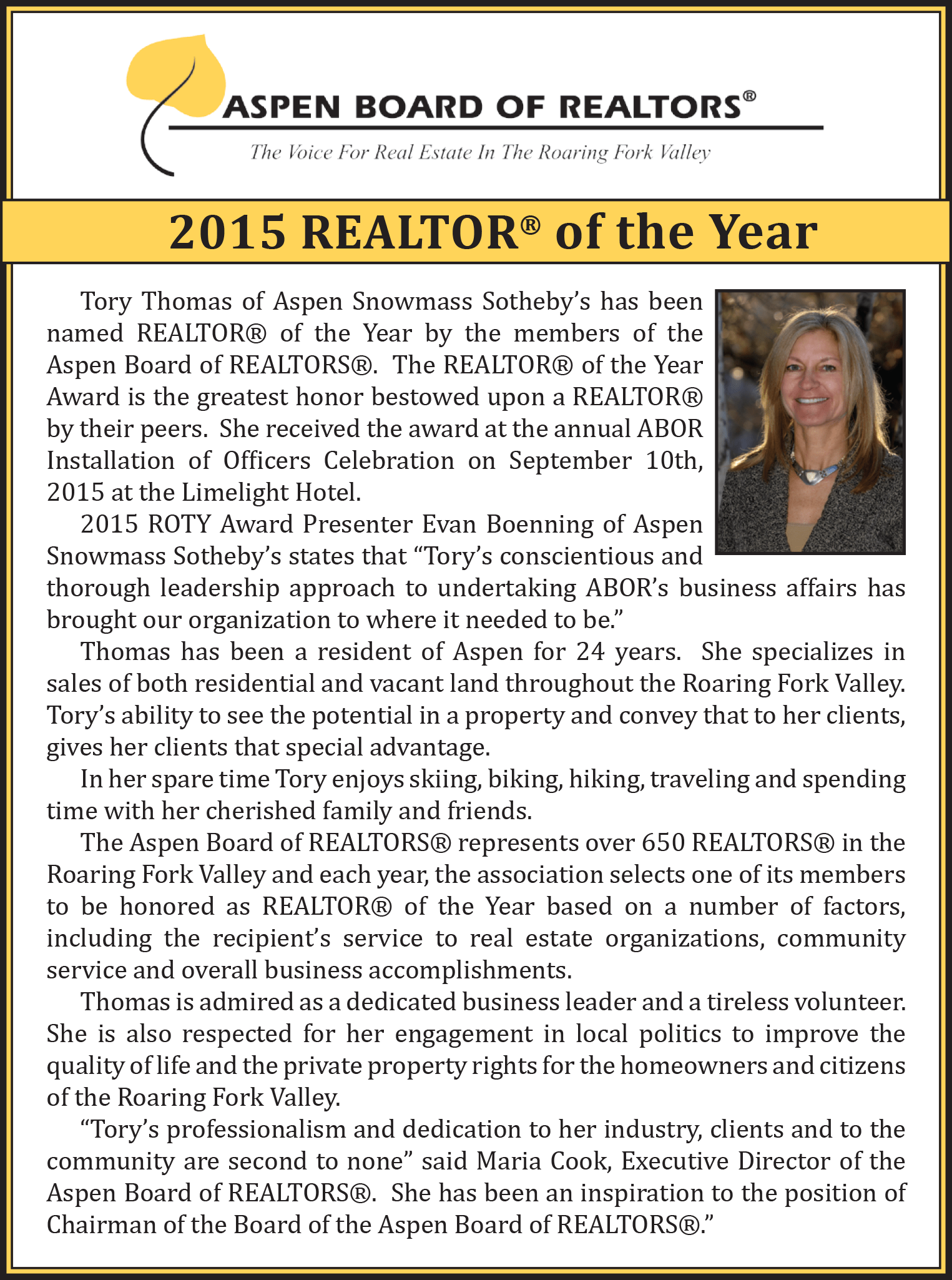 Tory Thomas, 2015 Realtor of the Year
